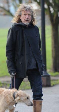 Lead singer of Led Zeppelin, Robert Plant is seen in Primrose Hill walking his dog.