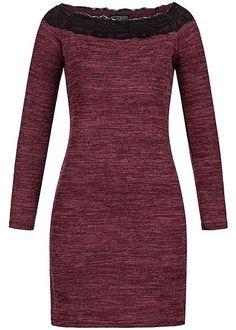 Styleboom Fashion Damen Longform Shirt Spitze Carmen Ausschnitt bordeaux melange…
