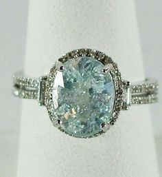 Ice Blue Cuprian Tourmaline & Diamond Ring In 14k White Gold