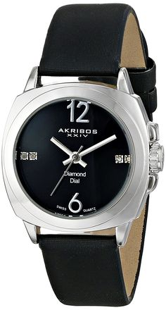 Akribos XXIV Women's AK742SSB Swiss Quartz Movement Watch with Black Sunburst Effect Dial and Black Satin over Nubuck Leather Strap * Quickly view this special  product, click the image