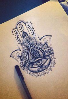 Hand of Fatima tattoo design completed with fineliner Hand Tattoos, Hamsa Hand Tattoo, Mandala Tattoo, Body Art Tattoos, Small Tattoos, Script Tattoos, Arabic Tattoos, Flower Tattoos, Thigh Tattoos