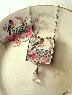 Broken china jewelry necklace sweet robin bird with pink roses vintage broken china