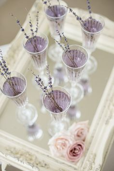 Escape into a dose of romantic French countryside inspiration with fresh lavender, lace, pearls and lilac blooms.