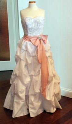 White Taffeta Wedding Dress with Optional Pink Sash and Detachable Train, Size 6 « Dress Adds Everyday
