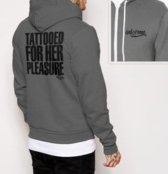 Tattooed For Her Pleasure - Mens Back Print Fleece Zip Hoodie