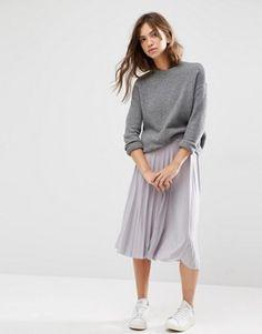 Boohoo Pleated Slinky Midi Skirt at asos.com