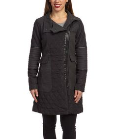 Look what I found on #zulily! Black & Charcoal Quilted Moto Coat by Yoki #zulilyfinds