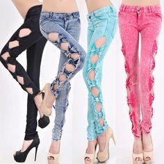 Hollow out women's jeans fashion women's feet pants