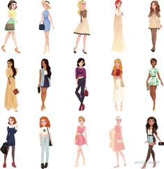 "archibaldart All Disney Princesses + Bonus (Giselle from Enchanted) in trendy Upper East Side outfits. This was inspired by punziella ""Casual Princesses"" which is super cool and cute Disney Princess Outfits, All Disney Princesses, Disney Princess Drawings, Disney Princess Pictures, Disney Drawings, Modern Disney Outfits, Modern Princess Outfits, Princess Inspired Outfits, Trendy Outfits"