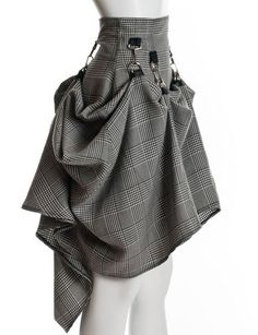 gray black tweed victorian skirt - now this is unique! But seriously, it would look awesome paired with a white ruffled dress shirt and some boots or heels!
