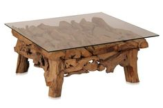 Root coffee table with glass - Teak Furniture - Products - Moebelhaus Hamburg for country furniture | teak furniture | colonial furniture | China Furniture | Indian Furniture | Chairs | Tables and Sofa