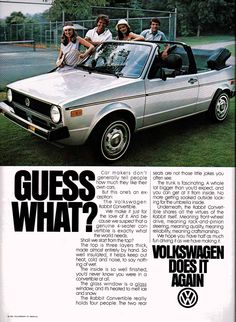 1980 Volkswagen Rabbit convertible - Rolling Stone - College Papers Spring 1980