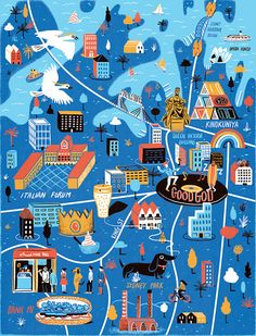 Illustrated map of Sydney, Australia for Computer Arts magazine // Daniel Gray. Travel and map illustration Travel Maps, Travel Posters, Perth, Brisbane, Map Wall Decor, Country Maps, Computer Art, Travel Illustration, Map Design