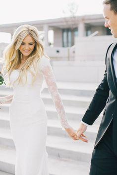 品格漂う10分袖*クラシカルでエレガントなレースの長袖ドレス wedding dress