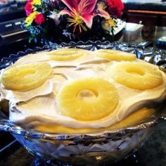 Pineapple is the southern symbol of hospitality. Nana's Southern Trifle calls for TruWhip, pineapples, cake, and vanilla pudding.