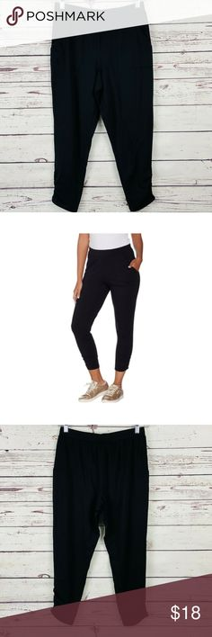 AnyBody Loungewear Cozy Knit Slim Pant Color Black Size Medium