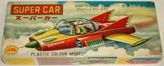 Also known as 'AMPHIBIAN CAR'. Made in Japan circa 1963 (we believe). This kit is able to take a MABUCI motor. Vintage Toys 1960s, Vintage Games, Retro Toys, Plastic Model Kits, Plastic Models, Plastic Plastic, Drop The Bomb, Monogram Models, Thunderbirds Are Go
