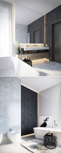 Modern Design | Black modern side table #bathroominteriordesign #bestbathrooms #bathroomdesign side table design, beautiful bathrooms, modern bathroom . See more inspirations at www.coffeeandside...