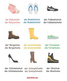 #Schuhe begleiten uns wie kaum ein anderes Kleidungsstück auf all unseren Wegen. Unten findet ihr eine Graphik mit den populärsten Schuharten. Welche anderen Schuharten kennt ihr? #Deutsch #German