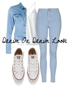 """""""Denim On Denim Look"""" by kimbo20111 ❤ liked on Polyvore featuring Dondup, Acne Studios, Topshop and Converse"""