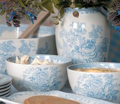 It takes many pairs of hands to create a single piece of Burleigh pottery, and each piece is meticulously hand-finished. Browse our range of handmade pottery. Blue Dinnerware, Kitchenware, Tableware, English Pottery, English China, Blue And White China, Blue Rooms, Beautiful Kitchens, Handmade Pottery