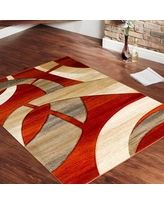 Shop for Allstar Orange Carved Circles Modern Abstract Geometric Area Rug x Get free delivery On EVERYTHING* Overstock - Your Online Home Decor Store! Get in rewards with Club O! Rugs And Mats, Latch Hook Rugs, Fru Fru, Contemporary Area Rugs, Home Design Decor, Panel Art, White Rug, Rugs In Living Room, Dining Rooms
