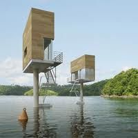 What unusual tiny houses.  You'd have to swim or take a boat to get to them.