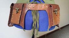 Steampunk Festival Waist Satchel Faux Leather Brown Waist Pack Belt w/ Pockets