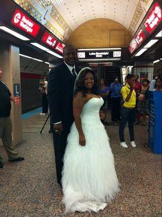 Sherri Shepherd's bridal gown, wedding photographs in Chicago subway.