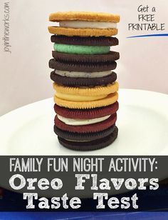 Compare all the different oreo flavors in this blind taste test. It makes a great family fun night activity and has a free printable for you to do your own!