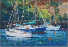 Yachts - oil painting by Malcolm Dewey Fine Art, South Africa
