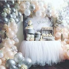 DIY Balloon Arch Kit // Peach Silver White Pink Arch // Stagette Decor // Wedding Balloon Garland // Baby Shower // Party Decor // Birthday - Decoration For Home Shower Party, Baby Shower Parties, Baby Shower Themes, Bridal Shower, Baby Shower Balloon Ideas, Baby Girl Shower Decorations, Baby Balloon, Shower Ideas, Balloon Garland