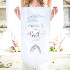 """Feather Whimsy Personalized Ceremony Banner - A Million Things Wedding.  3 Colours available! """"Here Comes The Bride"""""""