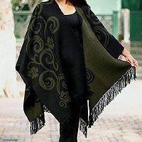 Reversible alpaca blend ruana cloak, 'Spring Silhouette'    $109.95