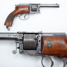 Dreyse Revolver - While his father's zundnadelgewehr (needle-gun) was only a single-shot – Franz von Dreyse went for repeating capability with his revolver design. Made in .32, .35 and our example's .39 caliber in the late 1860s; perhaps this wasn't the best time to offer a handgun that required a long needle firing pin to detonate the primer deep inside the cartridge? NRA National Firearms Museum in Fairfax, VA.: