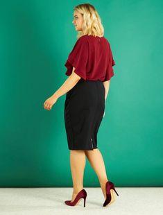 3f549226d6c6c Falda de tubo con cremallera trasera negro Tallas grandes mujer - Kiabi