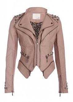 Pretty Attitude Rocking Cool Dusty Pink Studded Punk Style PU Faux Leather Slim Fit Moto Jacket : White Label