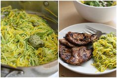 zuchinni noodles in herb butter and balsamic chicken plus a week of healthy dinner ideas.