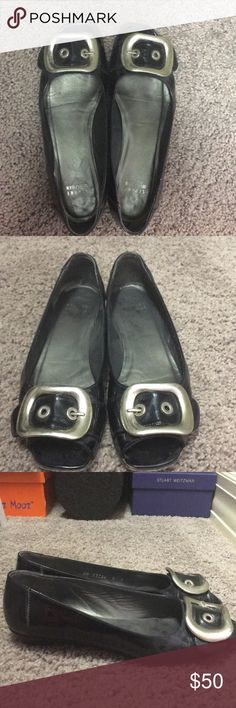 Stuart Weitzman Buckle Flats Navy Blue patent leather Stuart Weitzman flats with silver buckle. Size 8. Some wear on the bottom and sole but not visible when wearing them. Stuart Weitzman Shoes Flats & Loafers