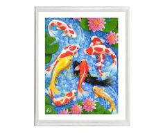 Feng Shui Art 'Wealth and Blessings' 9 Koi Fish Giclee Print from my Original Painting, Spiritual Ar Acrylic Painting Canvas, Canvas Art, Original Artwork, Original Paintings, Feng Shui Art, Small Canvas, Fish Print, Fine Art Paper, Giclee Print