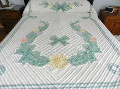 Jadeite Soft Teal Chenille Bedspread by SnowyCreekDesigns on Etsy