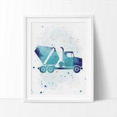 Cement_Truck Construction Truck Printable Art  by bigfamilyart  Cement_Truck, Construction Truck, Printable Art, Boys Nursery Printable, Watercolor Art, Nursery Art, Kids Wall Art, Instant Download