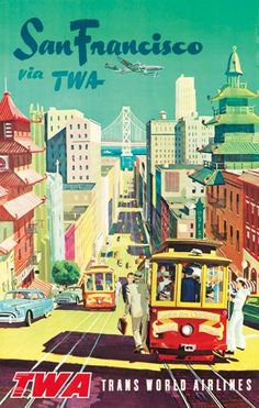 TWA / San Francisco. ca. 1954  Sold For $900 in 2012  Artist: ANONYMOUS Size: 25 1/8 x 39 3/4 in./64 x 101 cm Attempting to showcase all of the city's highlights in one image, this unnamed artist has created an idyllic, though impossible, view of San Francisco. From Chinatown to Nob Hill to the Golden Gate Bridge, we are given a visual tour of its landmarks, all from the vantage point of a breezy cable car.