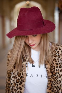 Leopard Coat, Floppy hat, Marsala accessories