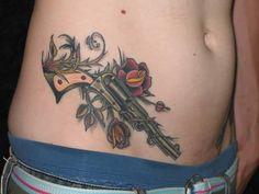 Outstanding Classy Gun With Flower Tattoo Design Image For Men Glock Tattoo, I Tattoo, Rose Tattoos For Men, Tattoos For Guys, Girl Gun Tattoos, Man Images, Flower Tattoo Designs, Tatting, Guns