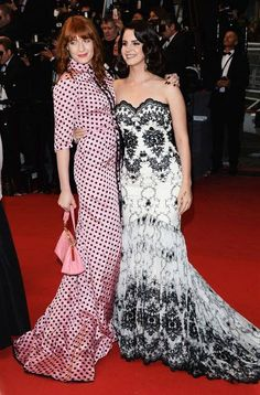 Florence Welch in polka dot Miu Miu and Lana Del Rey in a floor-sweeping, embroidered gown at Cannes Film Festival 2013.