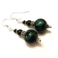 Black and Green Marble Earrings by JewelryDesignsByRita on Etsy, $16.00