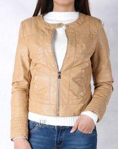 Hằng Jeans - Áo khoác da nữ màu kem da đẹp ôm dáng sành điệu 8779-03. Giá: 859.000 đ