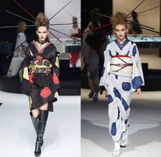 YOSHIKIMONO 2016 Spring Summer Womens Runway Catwalk Looks - Mercedes-Benz Fashion Week Tokyo Japan Designer Mr. YOSHIKI - Classic Rock Dynamic Static Kimono Wrap Robe Cloak Butterflies Geometric Leopard Jungle Choker Chopstick Hair Stick Flowers Floral Motif Silk Knee High Boots Obi Sash Slippers Sandals Embroidery Drapery Rope Braid Fishnet Stockings Sheer Chiffon Lace Stripes Noodle Strap Racing Checks