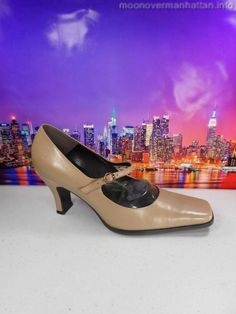 Womens shoes ENZO ANGIOLINI DivaStyle beige nude leather Mary Jane pump sz 7.5 M
